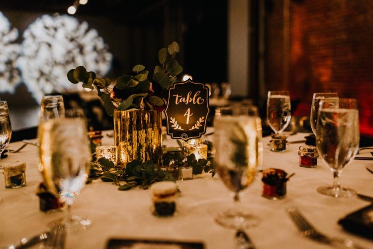 Warehouse Rustic Chic Refined Atlanta King Plow Table Black Number Greenery | Boho Industrial Winter Wedding Lunalee Photography