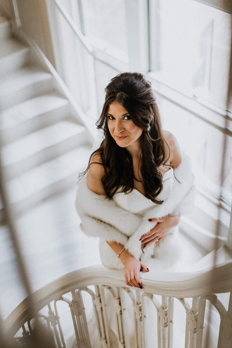 Warehouse Modern Refined Rustic Chic Bride Sweetheart Dress White Fur Shawl Stole Shrug | Boho Industrial Winter Wedding Lunalee Photography