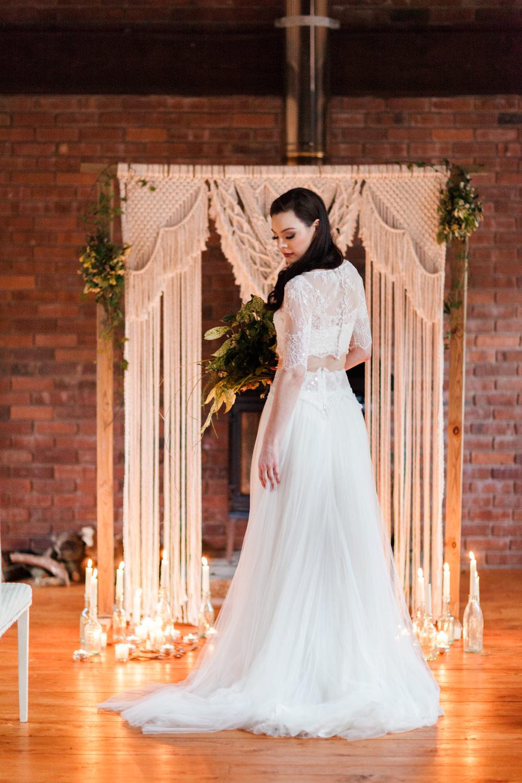 Dress Gown Bride Bridal Lace Tulle Skirt Botanical Macrame Glass House Wedding Ideas Jo Bradbury Photography