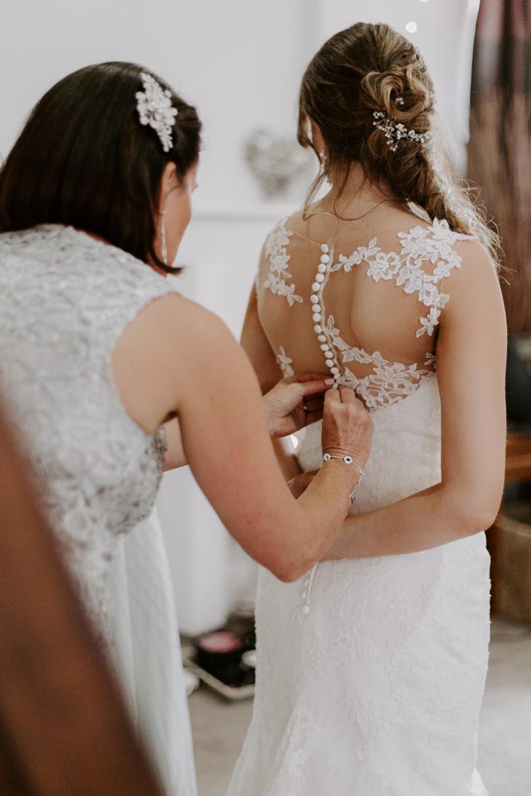 Anna Sorrano Illusion Back Dress Gown Sheer Lace Buttons Botanical Summer Garden Wedding Nottingham Grace Elizabeth Photo & Film