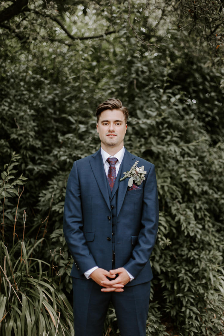 Groom Suit Navy Red Tie Style Outfit Attire Botanical Summer Garden Wedding Nottingham Grace Elizabeth Photo & Film