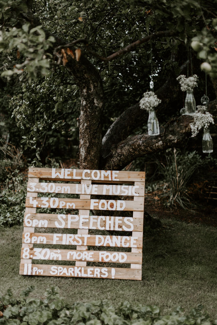 Wooden Pallet Sign Painted Order Day Botanical Summer Garden Wedding Nottingham Grace Elizabeth Photo & Film