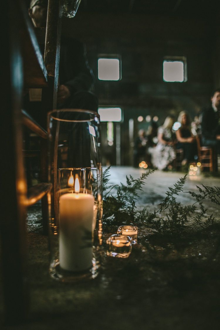 Ceremony Aisle Decor Candles Greenery Eclectic Asylum Wedding London Rusted Rose Photography