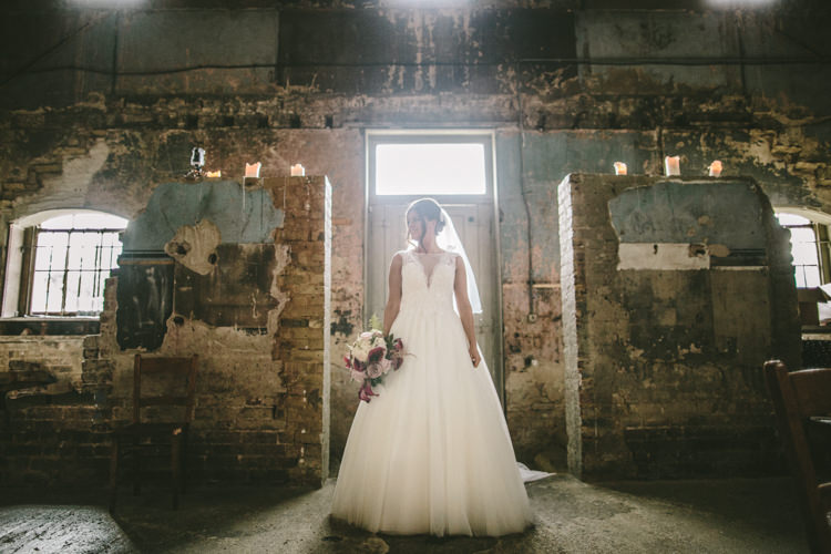 Tulle Dress Illusion Back Lace Buttons Sheer Bride Bridal Gown Plunge Eclectic Asylum Wedding London Rusted Rose Photography