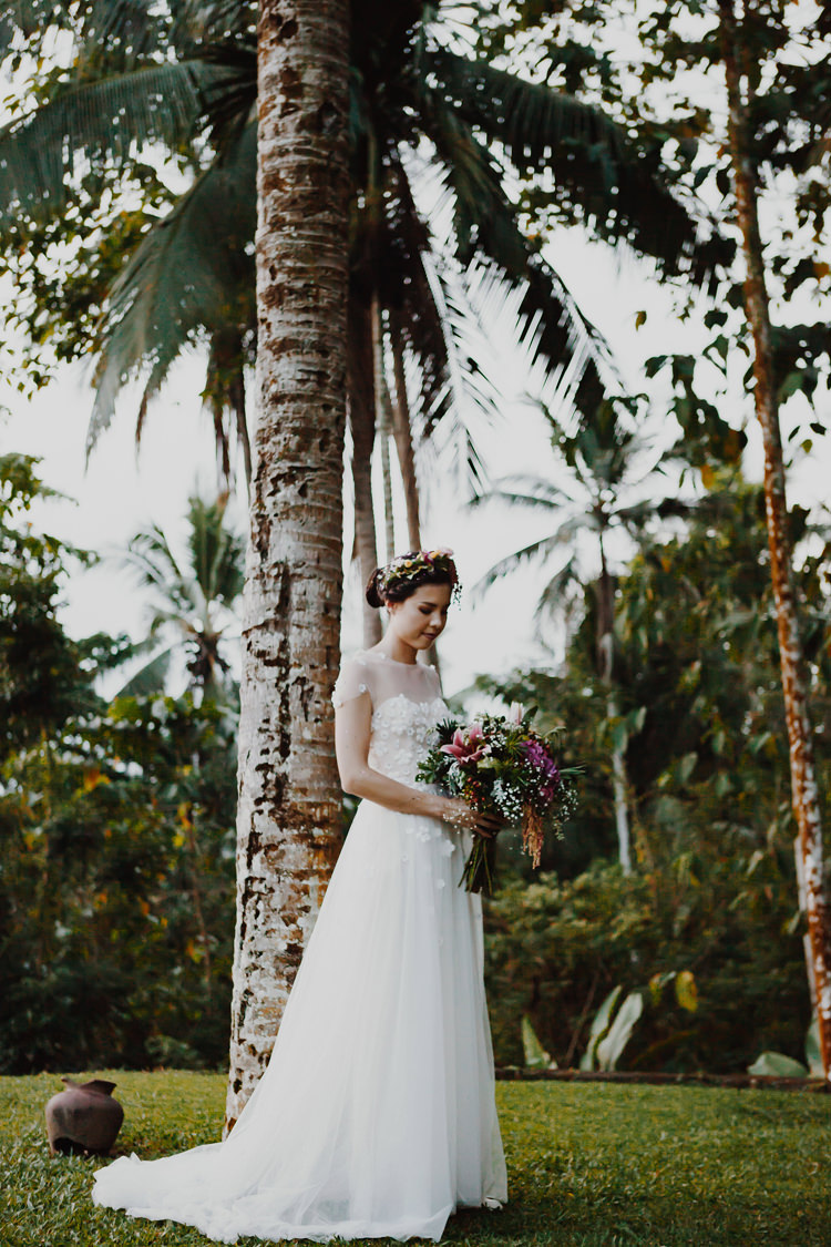 Outdoor Destination Luxury Adventure Ubud Ceremony Colorful Tropical Flower Crown Bride Bouquet | Whimsical Exotic Tropical Jungle Wedding Bali http://www.cecilephotographybali.com/