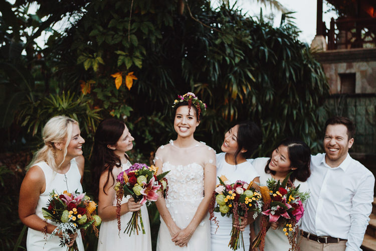 Outdoor Destination Luxury Adventure Ubud Ceremony Colorful Tropical Bouquet Flower Crown Bride Bridemaids | Whimsical Exotic Tropical Jungle Wedding Bali http://www.cecilephotographybali.com/