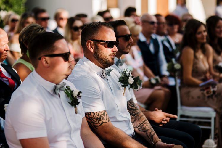 Spain Sun Outdoor Tropical Mediterranean Garden Villa Outdoor Ceremony Groomsmen Sunglasses | Ibiza Destination Wedding Amy Faith Photography