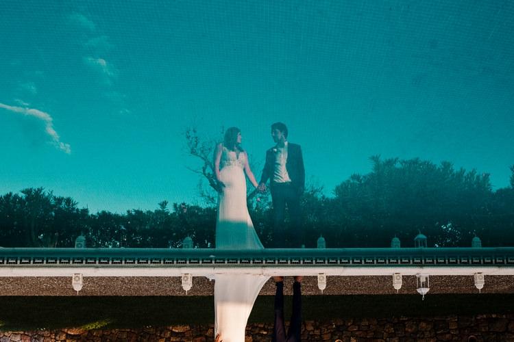 Spain Sun Outdoor Tropical Mediterranean Garden Villa Bride Groom Pool Reflection | Ibiza Destination Wedding Amy Faith Photography