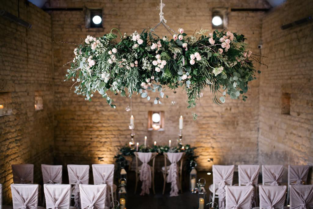 Greenery Hanging Hoop Chair Covers Fabric Drape Bows Ruffle Lapstone Barn Wedding Ideas Cotswolds Katie Hamilton Photography