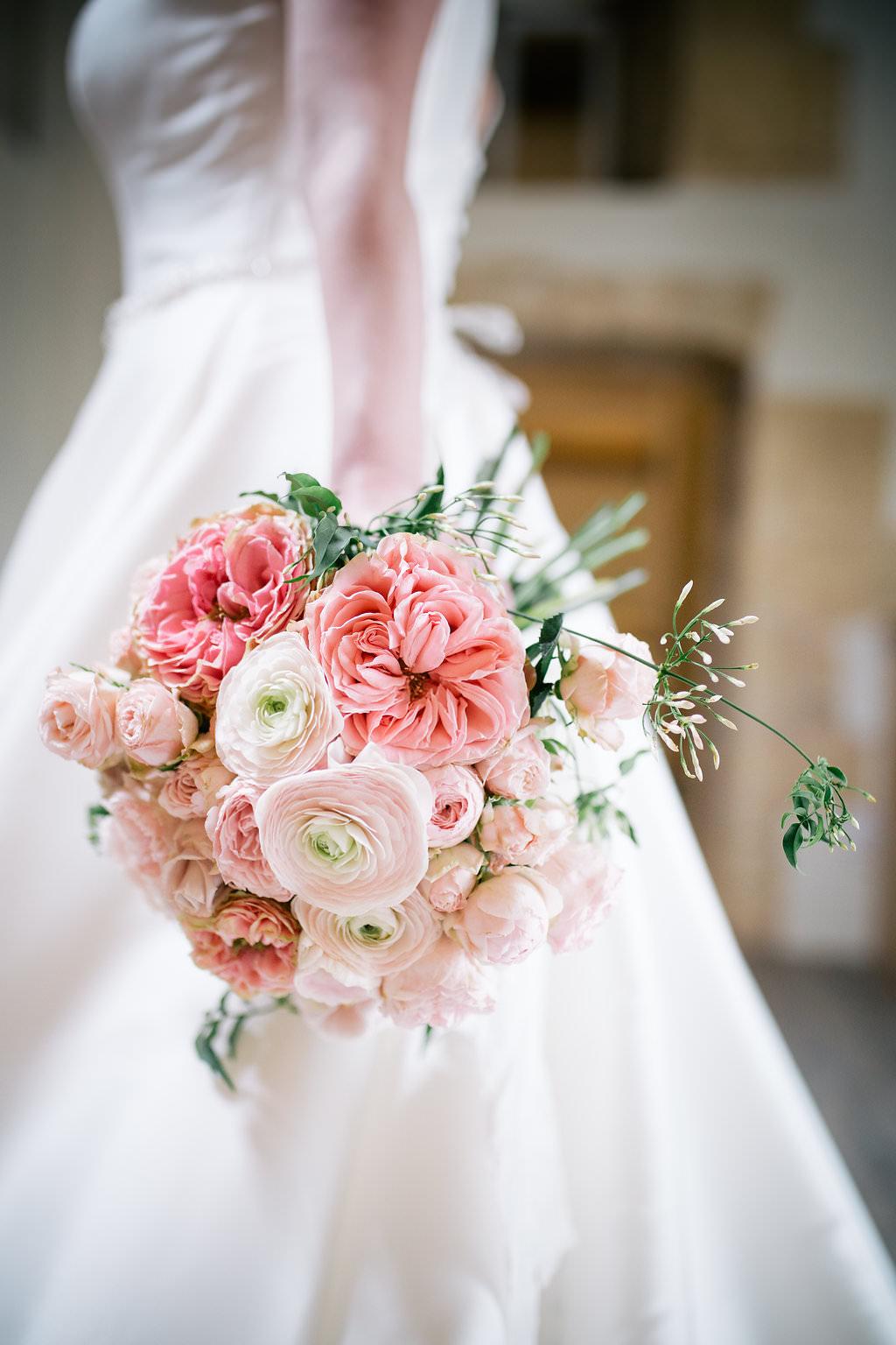 Bouquet Flowers Bride Bridal Pink Rose Ranunculus Peony Lapstone Barn Wedding Ideas Cotswolds Katie Hamilton Photography