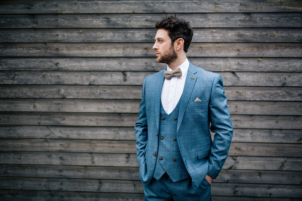Groom Suit Blue Brown Bow Tie Badge Pin Lapstone Barn Wedding Ideas Cotswolds Katie Hamilton Photography