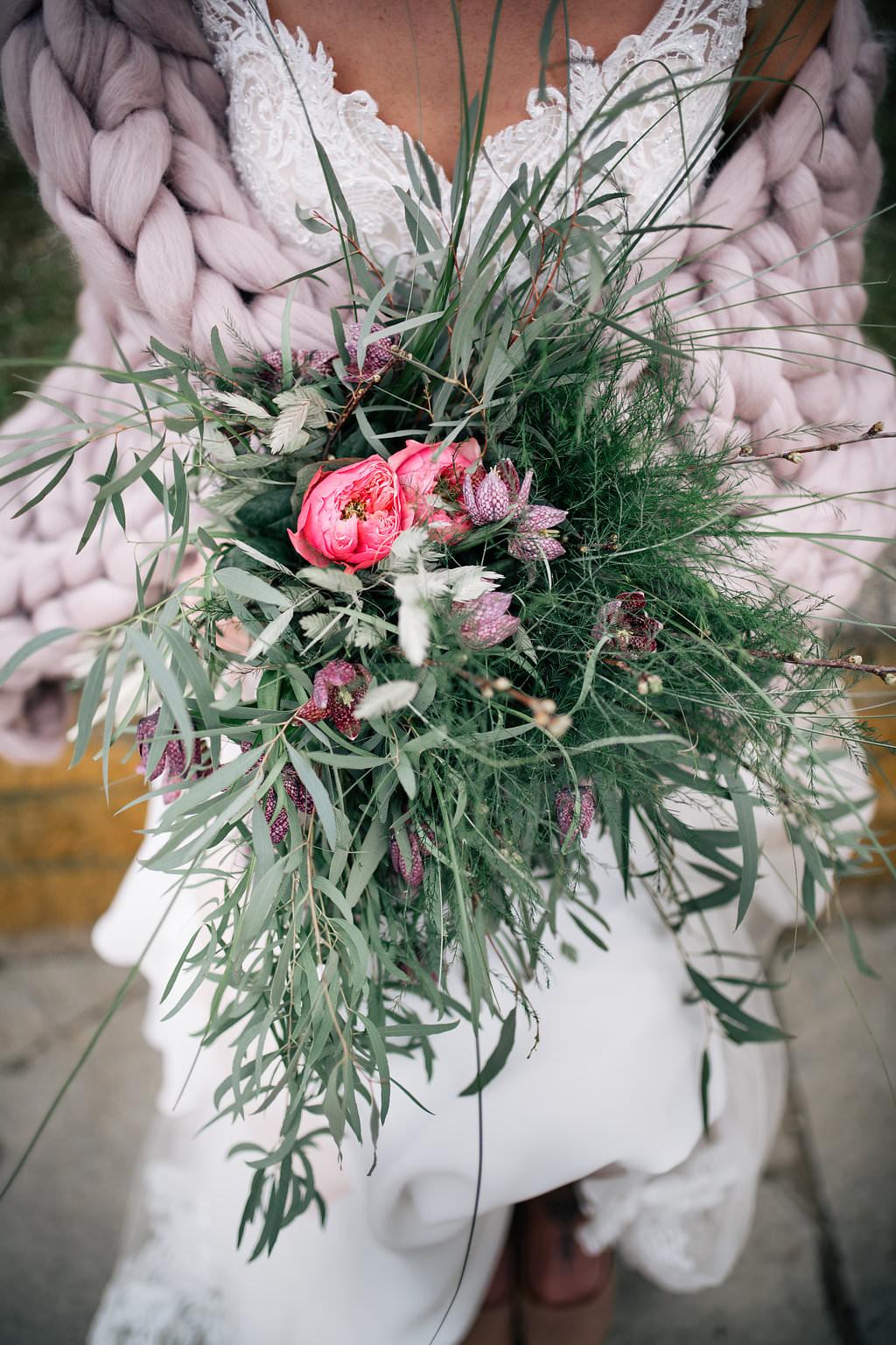 Bouquet Bride Bridal Flowers Greenery Foliage Hellebore Peony Lapstone Barn Wedding Ideas Cotswolds Katie Hamilton Photography