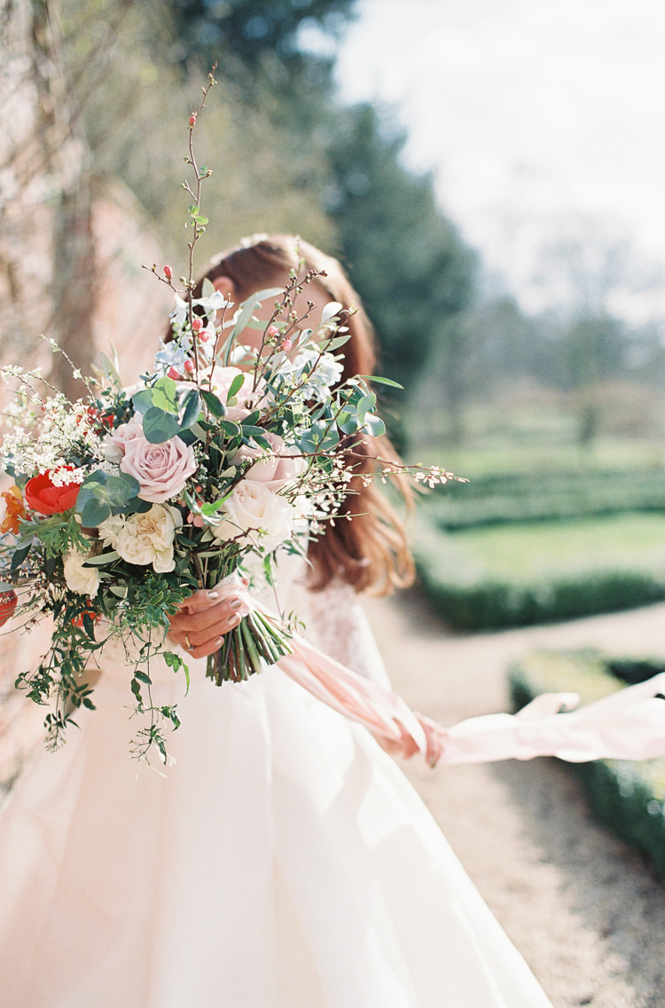 Flowers Poppies Anemones Delphiniums Ranunculus Snakeshead Fritillary Grape Hyacinth Colourful Bouquet Bride Bridal Ribbon Whimsical Summer Chocolat Wedding Ideas Brympton House Liz Baker Fine Art Photography