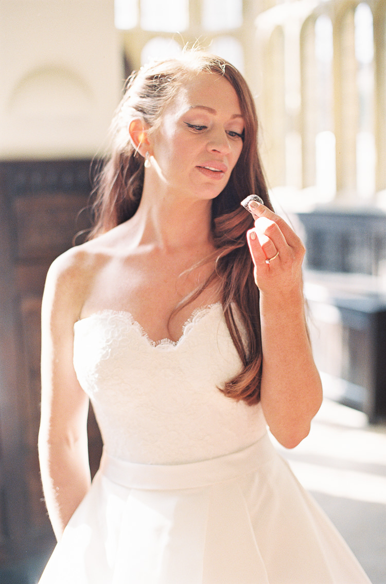 Sassi Holford Dress Gown Bride Bridal Strapless Sweetheart Whimsical Summer Chocolat Wedding Ideas Brympton House Liz Baker Fine Art Photography