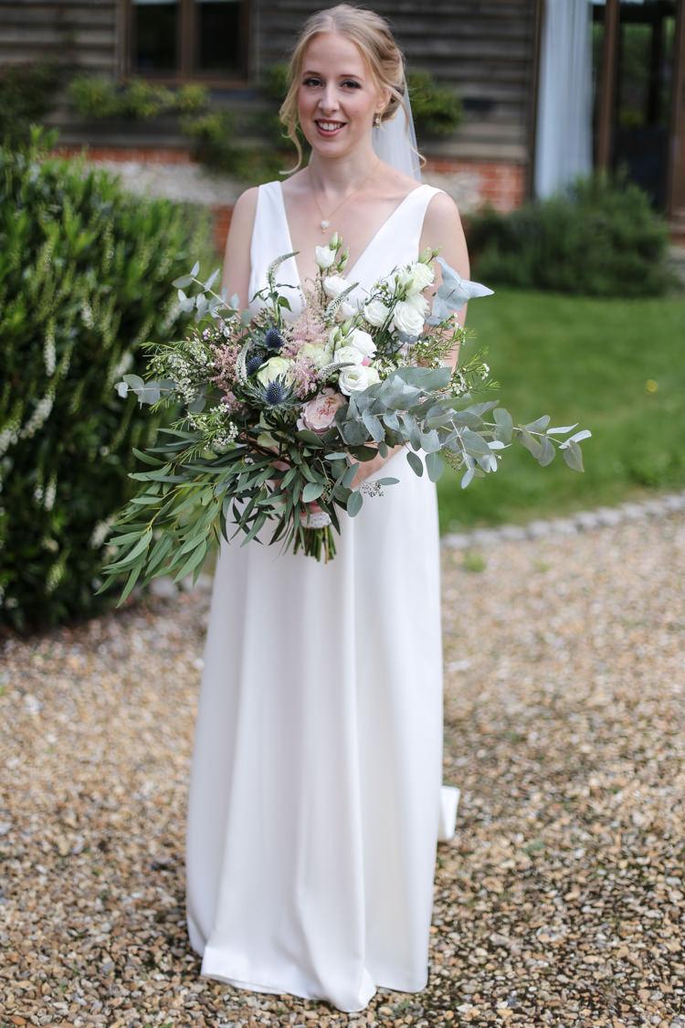 Bride Bridal V Neck Charlie Brear Dress Gown Loose Wild Bouquet Manor Farm Wedding Hampshire Luke Doyle Photography