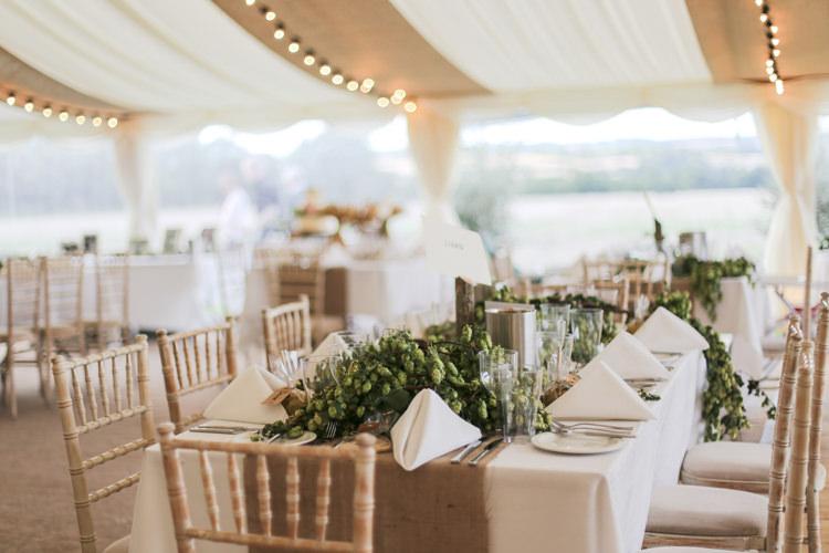 Hessian Table Runner Hops Marquee Drapes Manor Farm Wedding Hampshire Luke Doyle Photography