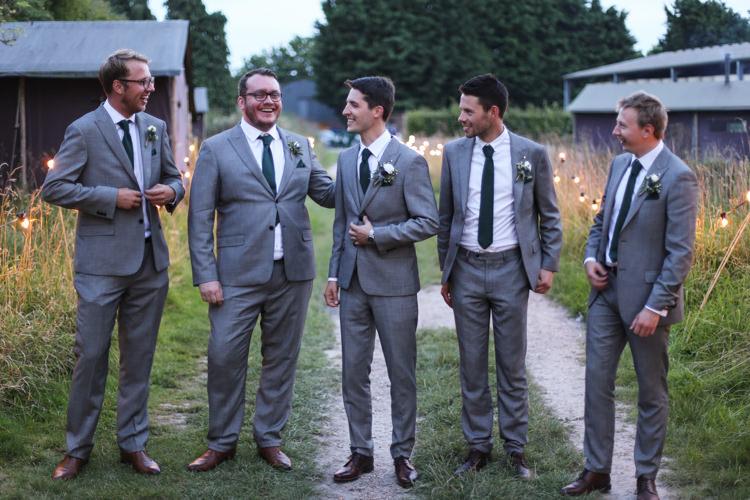 Groom Groomsmen Ted Baker Grey Suit Green Tie Manor Farm Wedding Hampshire Luke Doyle Photography