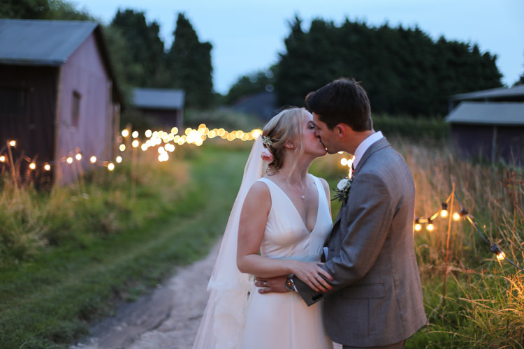 Bride Bridal V Neck Charlie Brear Dress Gown Ted Baker Groom Waistcoat Three Piece Grey Green Tie Manor Farm Wedding Hampshire Luke Doyle Photography