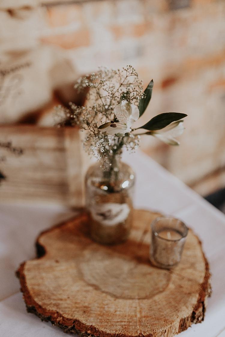 Log Slice Table Flowers Bottle North Hidden Barn Wedding Autumn Jen Marino Photography