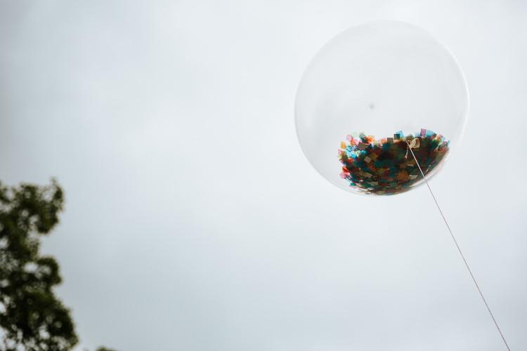 Giant Confetti Balloon Pretty Pastel Floral Village Hall Wedding Struve Photography