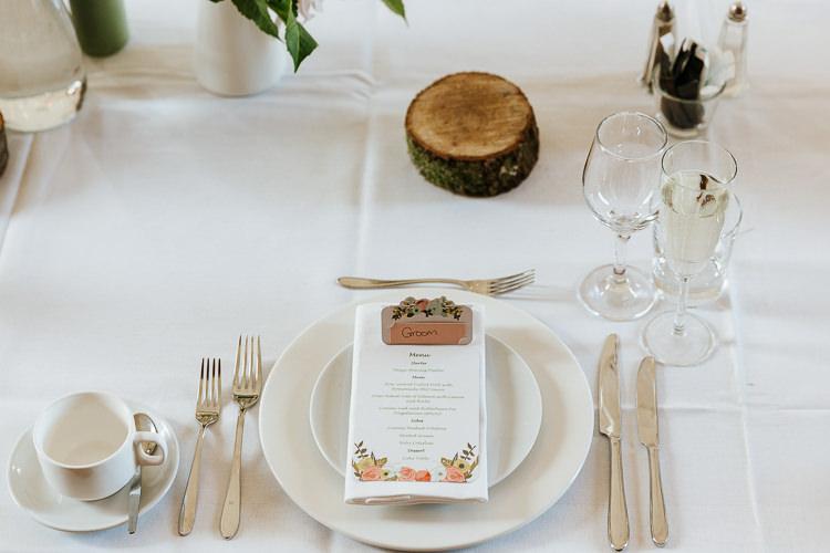 Stationery Menu Log Slice Place Setting Pretty Pastel Floral Village Hall Wedding Struve Photography