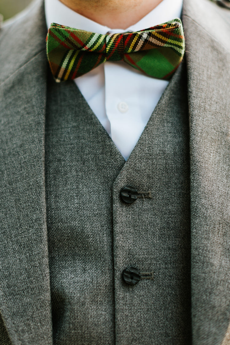 Tartan Bow Tie Groom Pretty Pastel Floral Village Hall Wedding Struve Photography