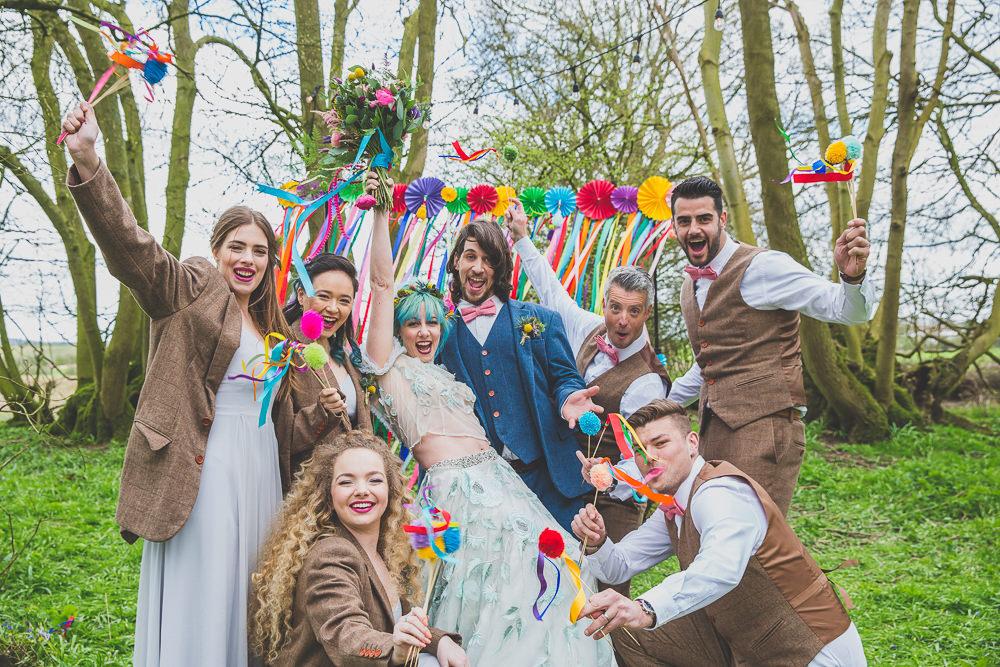 Curtain Ribbon Backdrop Pinwheels Rainbow Alternative Woodland Wedding Ideas Nicki Shea Photography