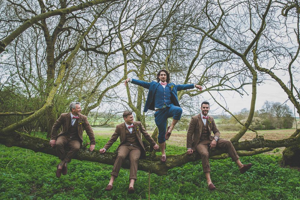 Groom Groomsmen Suits Tweed Navy Brown Pink Bow Tie Rainbow Alternative Woodland Wedding Ideas Nicki Shea Photography