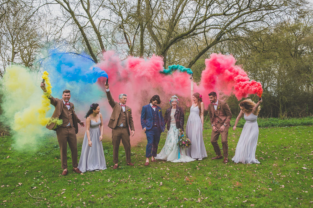 Smoke Bombs Rainbow Alternative Woodland Wedding Ideas Nicki Shea Photography