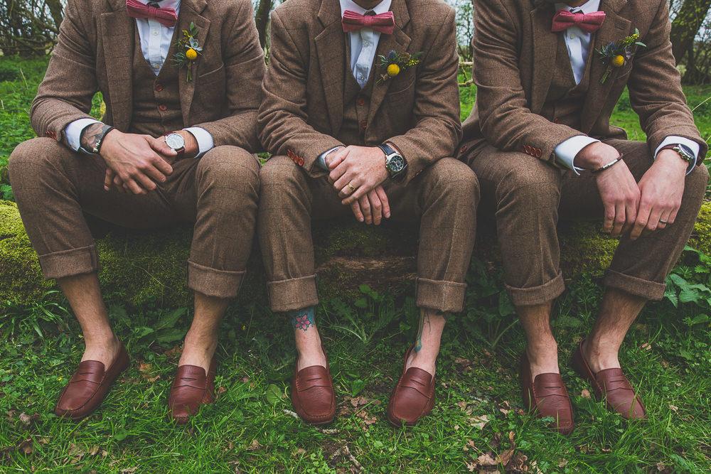 Groom Groomsmen Suits Tweed Loafers Brown Pink Bow Tie Rainbow Alternative Woodland Wedding Ideas Nicki Shea Photography
