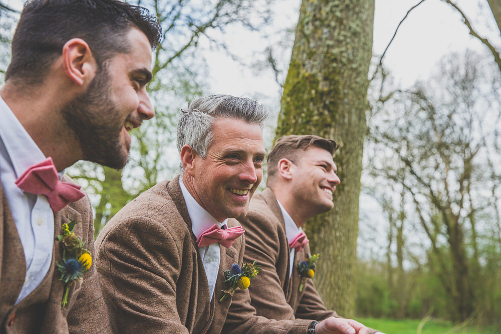 Groom Groomsmen Suits Tweed Brown Pink Bow Tie Rainbow Alternative Woodland Wedding Ideas Nicki Shea Photography