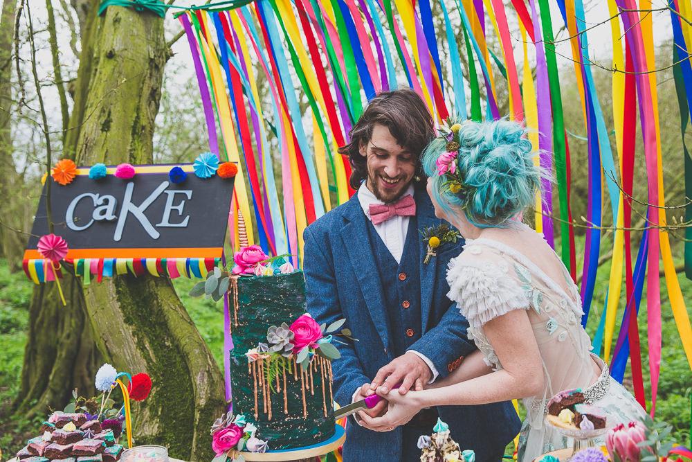 Curtain Ribbon Backdrop Pinwheels Cake Table Rainbow Alternative Woodland Wedding Ideas Nicki Shea Photography