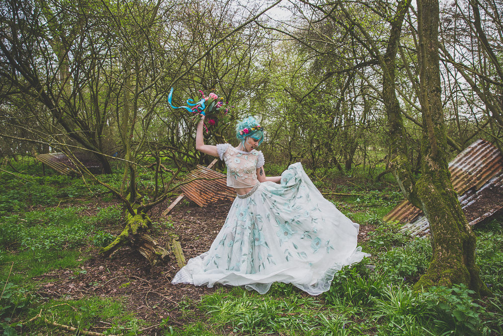 Floral Dress Gown Bride Bridal Embroidered Sheer Blue Skirt Top Rainbow Alternative Woodland Wedding Ideas Nicki Shea Photography
