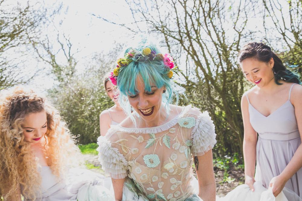 Floral Dress Gown Bride Bridal Embroidered Sheer Blue Flower Crown Rainbow Alternative Woodland Wedding Ideas Nicki Shea Photography