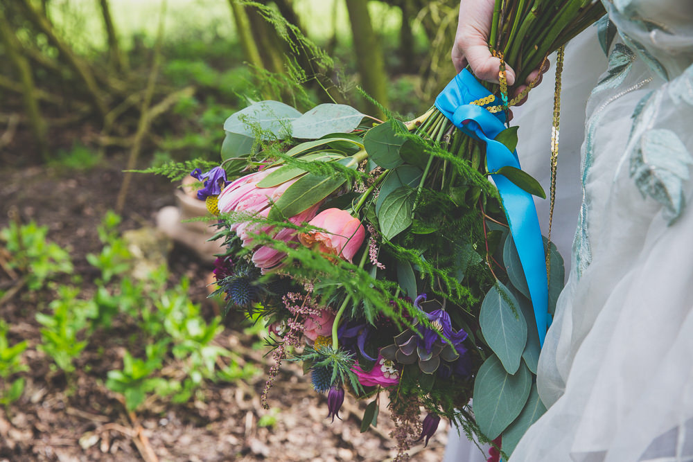 Bouquet Flowers Bridal Bridal Rose Protea Fern Succulent Rainbow Alternative Woodland Wedding Ideas Nicki Shea Photography