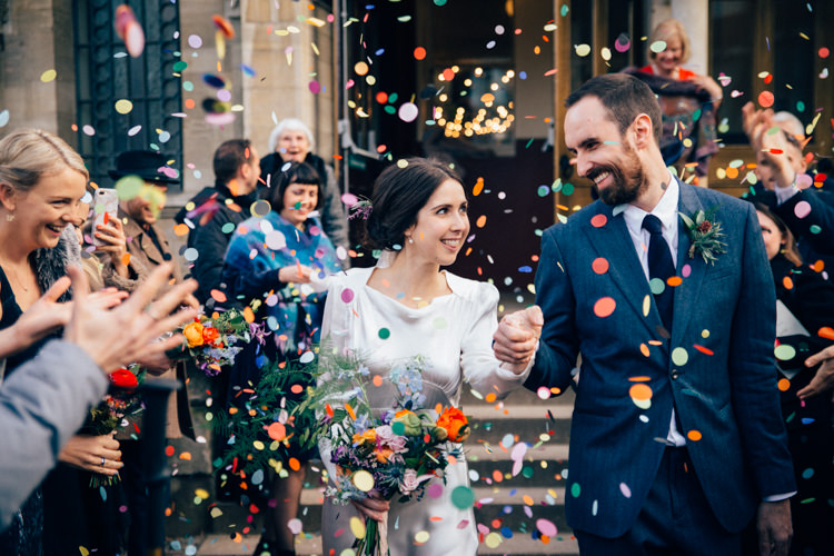 Bride Bridal Dress Gown Vintage Silk 1940s Reiss Groom Blue Confetti Multicoloured Colourful Bouquet Round Chapel London Wedding Nikki van der Molen Photography