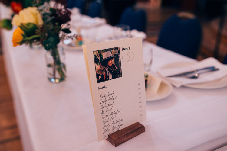 Table Name Plan Seating Track Listing Record Round Chapel London Wedding Nikki van der Molen Photography