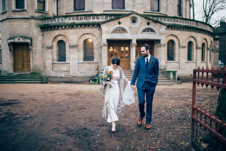 Bride Bridal Dress Gown Vintage Silk 1940s Reiss Groom Blue Velvet Shawl Multicoloured Bouquet Colourful Round Chapel London Wedding Nikki van der Molen Photography