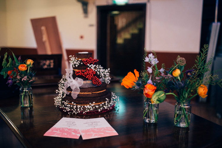 Naked Chocolate Cake Berries Gypsophila Multicoloured Flowers Jar Colourful Round Chapel London Wedding Nikki van der Molen Photography