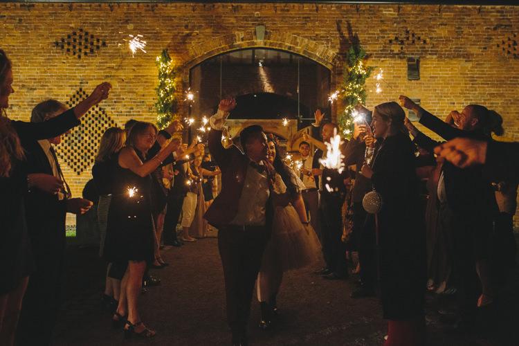 Bride Bridal Separates Lace Shawl Tulle Skirt Burgundy Suit Bow Tie Autumn Flower Crown Red Orange Sparkler Farewell Shustoke Farm Barns Wedding Ellie Grace Photography