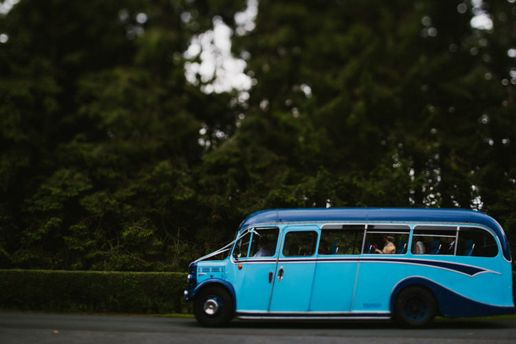 Vintage Blue Bus Transport Larchfield Estate Wedding Honey and the Moon Photography