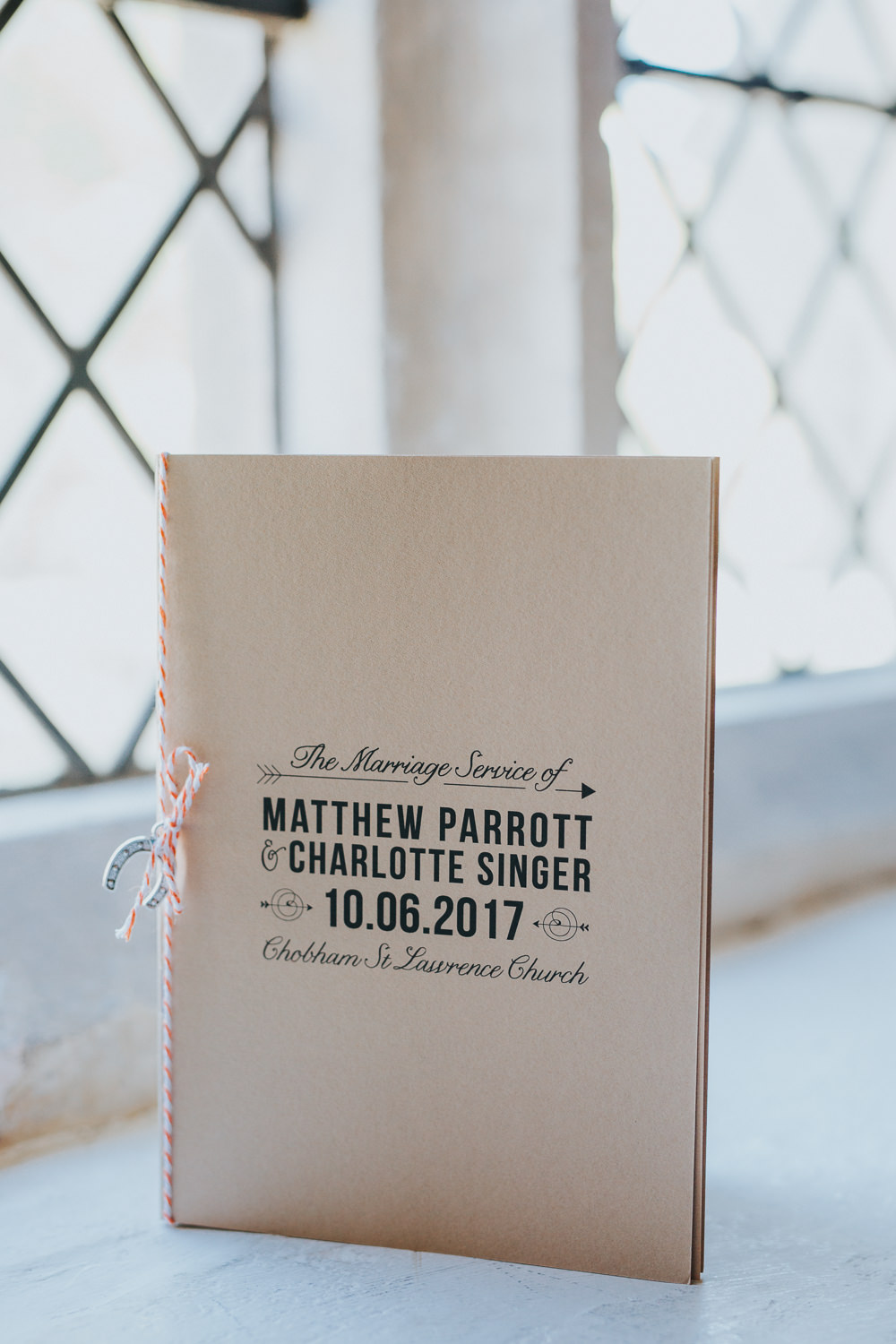 Stationery Order Service Kraft Brown Paper Twine Booklet Colourful Bright Summer Pub Wedding Charlotte Razzell Photography