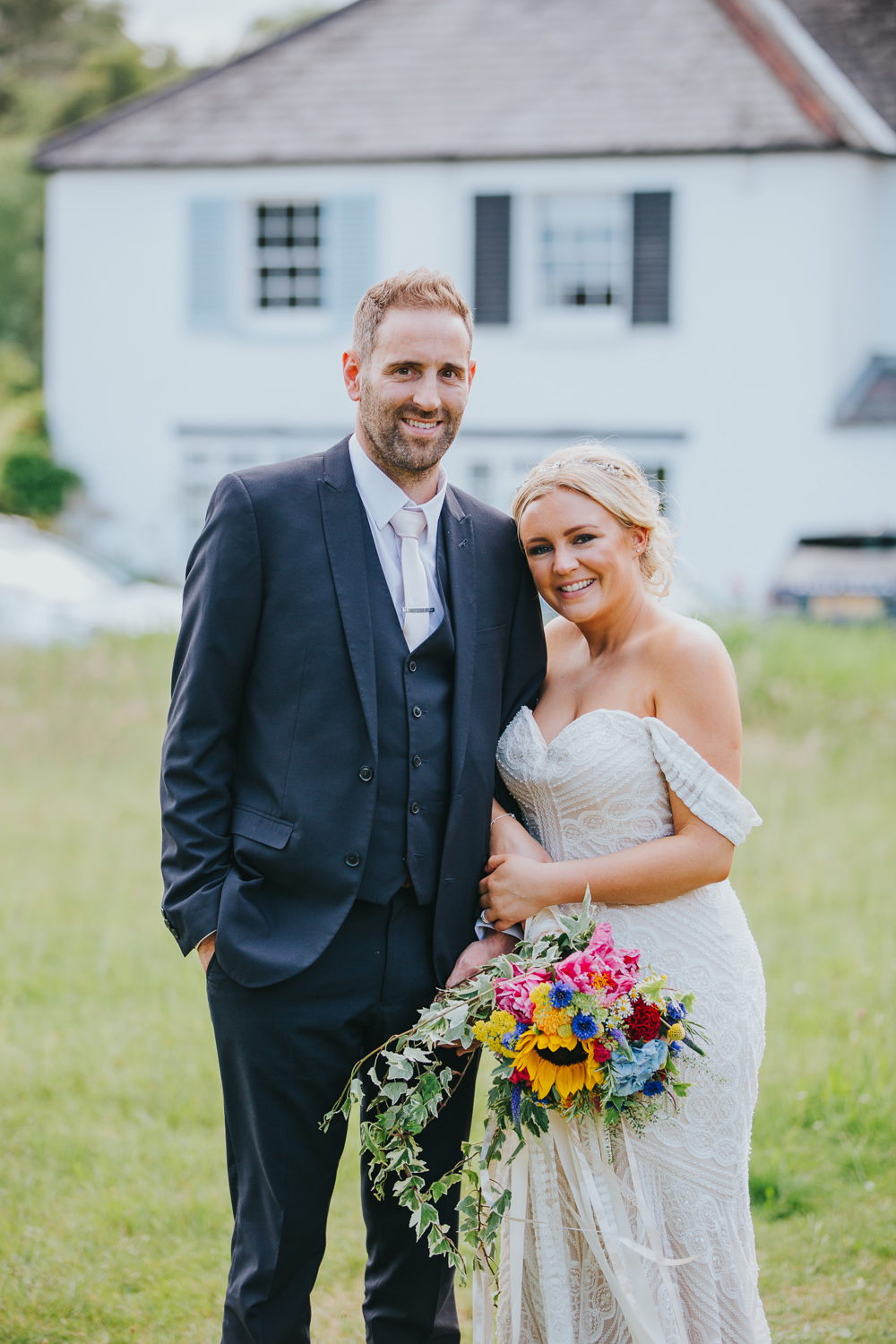 Groom Navy Suit White Tie Colourful Bright Summer Pub Wedding Charlotte Razzell Photography