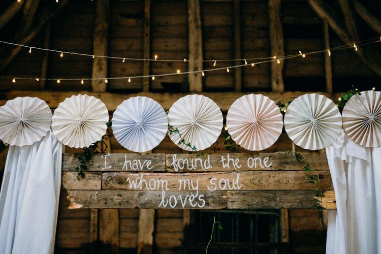 Decor Reception Venue Fairy Lights Pinwheel Backdrop Ceremony Love Quote Creative Hertfordshire Barn Boho DIY Wedding Beard and Mane Photography