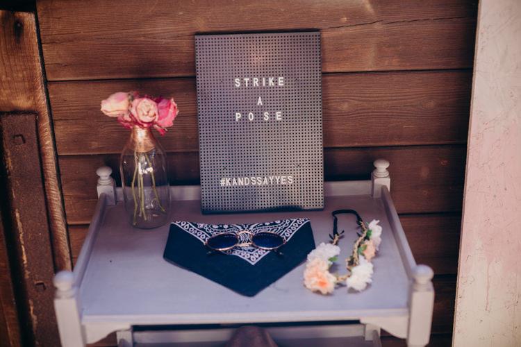 Photo Booth Peg Board Sign Creative Hertfordshire Barn Boho DIY Wedding Beard and Mane Photography