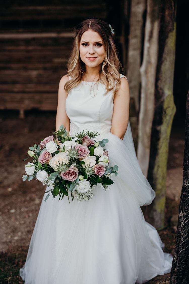 Bride Bridal Dress Gown Seperates Skirt Top Rose Bouquet Thistle Creative Hertfordshire Barn Boho DIY Wedding Beard and Mane Photography