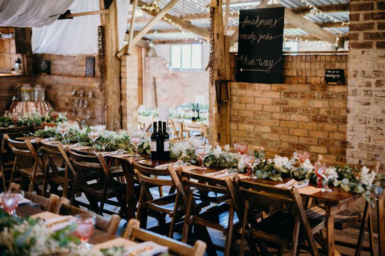 Long Tables Wooden Flowers Creative Hertfordshire Barn Boho DIY Wedding Beard and Mane Photography