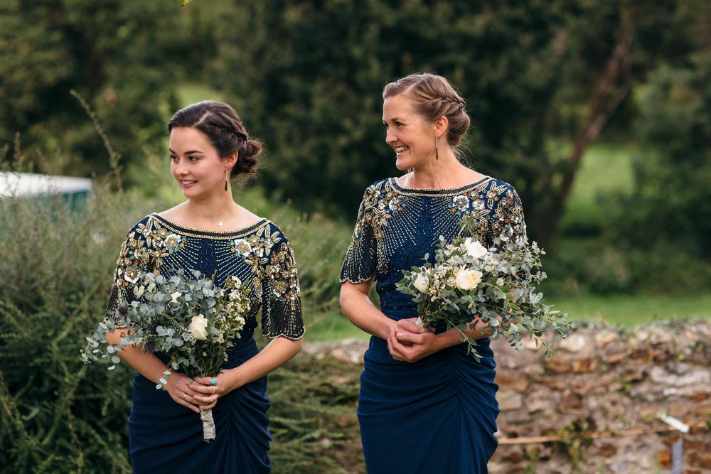 Navy Bridesmaid Dresses Gold Sequins Devon Garden Wedding Tipi Freckle Photography