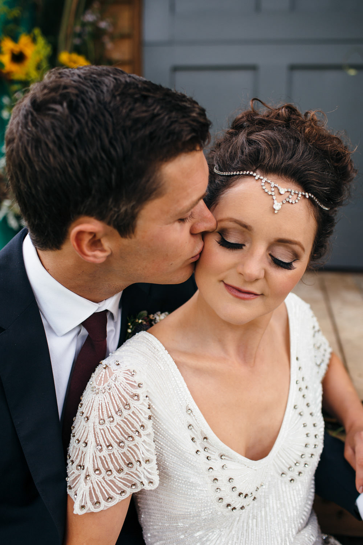 Bride Bridal Make Up Hair Accessory Devon Garden Wedding Tipi Freckle Photography