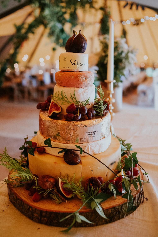 Cheese Tower Stack Cake Devon Garden Wedding Tipi Freckle Photography